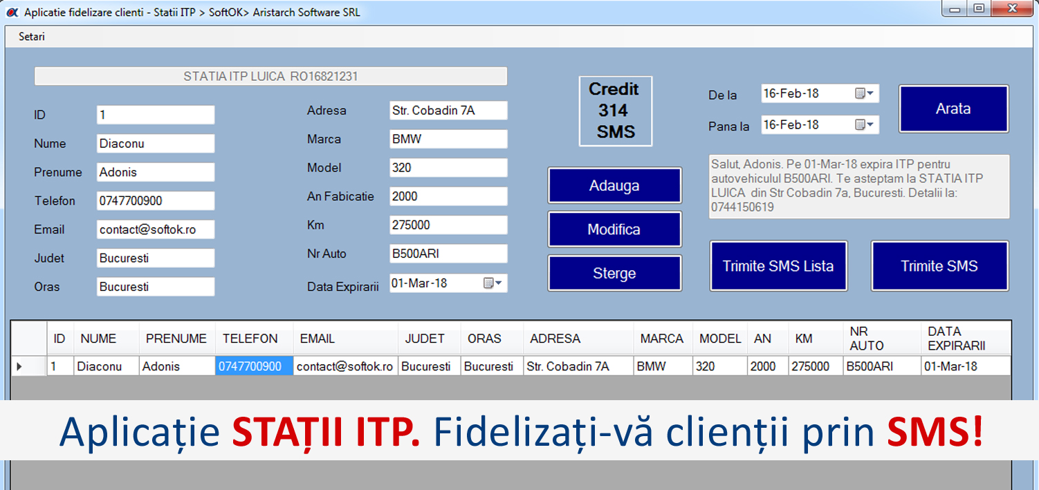 Banner_Aplicatie STATII ITP pentru fidelizare clienti prin SMS - SoftOK